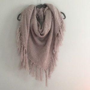 Oversized triangle fringe scarf